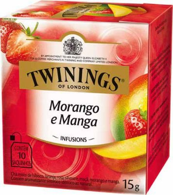 Twinings of London chá Morango e Manga caixa com 10 sachês