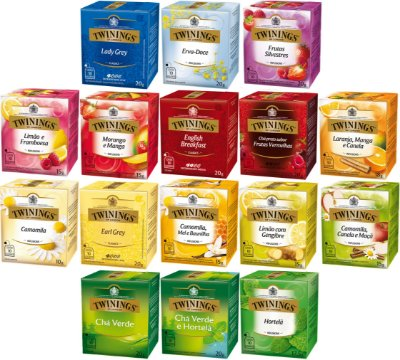 Twinings of London chá 16 caixas conjunto completo com 160 sachês