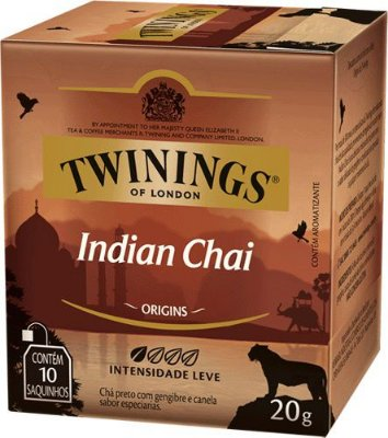 Twinings of London chá preto Indian Chai caixa com 10 sachês