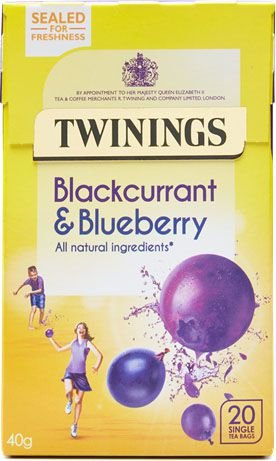 Twinings of London chá Blueberry e Blackcurrant caixa com 20 sachês sem invólucro.
