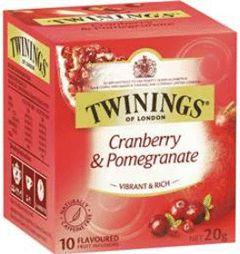 Twinings of London chá Cranberry & Pomegranate caixa com 10 sachês