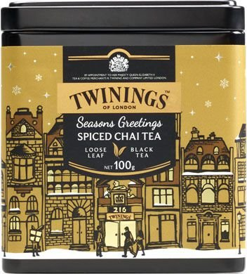 Twinings of London chá preto Spiced Chai Tea lata com 100g