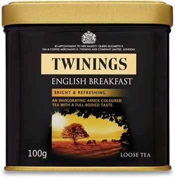 Twinings of London chá preto English Breakfast lata com 100g