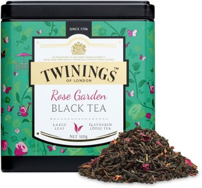 Twinings of London chá preto Rose Garden lata com 100g