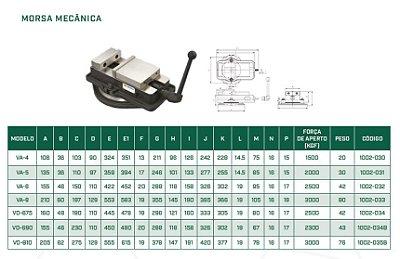 Morsa mecânica giratória c/ abertura de 200mm e largura dos mordentes de 160mm Mod:VD-675