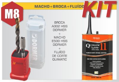 Kit Duo Pack com Macho M8 Manual e Broca Ø6,8 Dormer + Fluído de Corte Quimatic 11