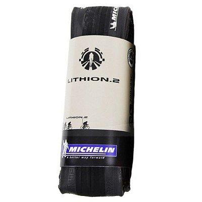 Pneu Michelin Lithion 2 700 X 25c Preto Cinza Dobrável Speed Road