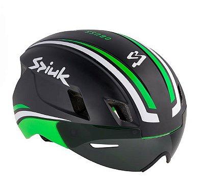 Capacete Spiuk Obuss Triathlon TT Ciclismo Preto Com Verde