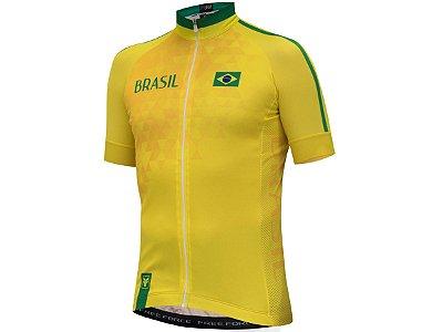 Camisa Ciclismo Free Force Brasil Amarela 2018