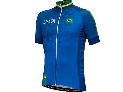 Camisa Ciclismo Free Force Brasil Azul 2018