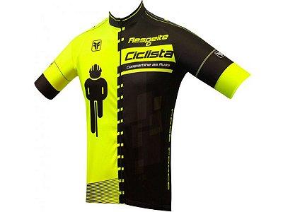 Camisa Ciclismo Free Force Masculina Transit Amarelo Preto
