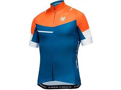 Camisa Ciclismo Free Force Lord Azul Laranja