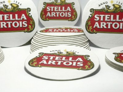 """1.000 Porta Copos """" STELLA ARTOIS """" só R$ 149,00 Pronta Entrega. Bolacha de Chopp de Qualidade. Papelão Liner Extra 850g."""