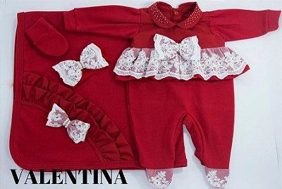 Saída Maternidade Valentina Vermelho