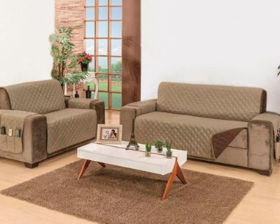 Protetor de sofa manu 2 e 3 lugares dupla-face