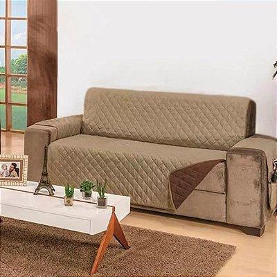 Protetor de sofa dani 4 lugares dupla-face avelã-tabaco