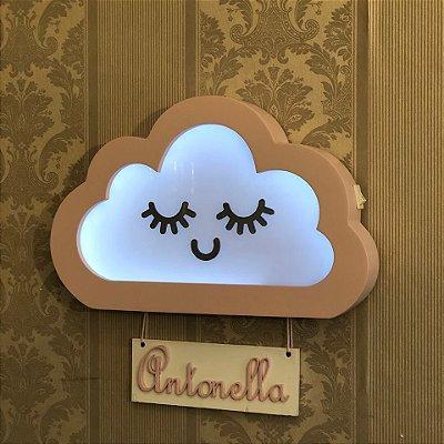 Cílios e nuvem porta maternidade luminoso
