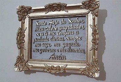 Quadro oração santo anjo moldura resina