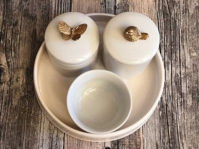 Porcelana, kit de higiene passarinho borboleta com bandeja