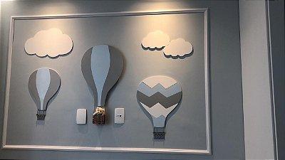 Composição trio de balões mais dupla de nuvens