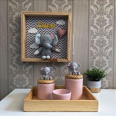 Composição quadro elefante mais kit de higiene elefante