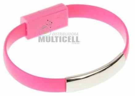 PULSEIRA USB CABO CARREGADOR IPHONE 5/5S/6/6S/IPOD/IPAD MINI ROSA