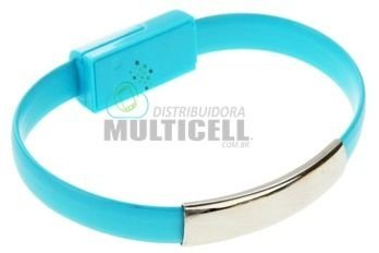 PULSEIRA USB CABO CARREGADOR IPHONE 5 5S 6 6S IPOD IPAD AZUL
