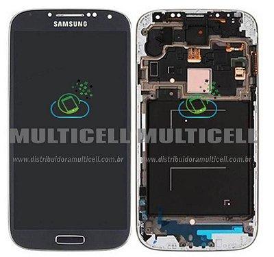 GABINETE FRONTAL LCD DISPLAY TOUCH SCREEN MODULO COMPLETO I9505 I9515 SAMSUNG GALAXY S4 4G AZUL 1ªLINHA AAA QUALIDADE GOLD