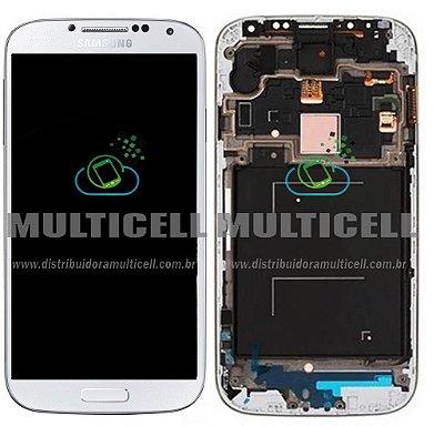 GABINETE FRONTAL LCD DISPLAY TOUCH SCREEN MODULO COMPLETO I9505 I9515 SAMSUNG GALAXY S4 4G BRANCO 1ªLINHA AAA QUALIDADE GOLD
