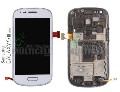 GABINETE FRONTAL TOUCH SCREEN I8190/I8200 SAMSUNG GALAXY S3 MINI BRANCO 1ªLINHA AAA