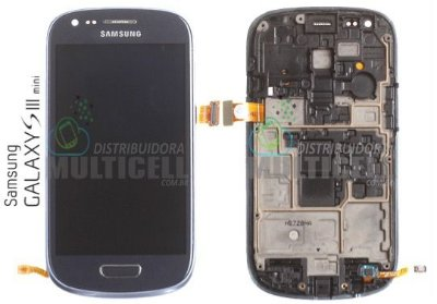 GABINETE FRONTAL TOUCH SCREEN I8190 I8200 SAMSUNG GALAXY S3 MINI AZUL 1ªLINHA AAA