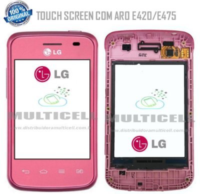 TELA TOUCH SCREEN COM ARO LG E420/E475 L1 II  ROSA ORIGINAL