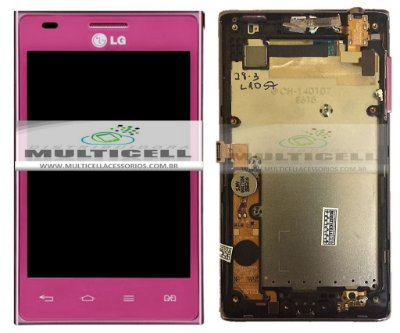 GABINETE FRONTAL TOUCH SCREEN LG E615 L5 ROSA PINK ORIGINAL