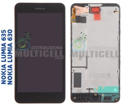 GABINETE FRONTAL TOUCH SCREEN NOKIA LUMIA 630 RM-975 RM-977 LUMIA 635 RM-939 RM979 PRETO ORIGINAL
