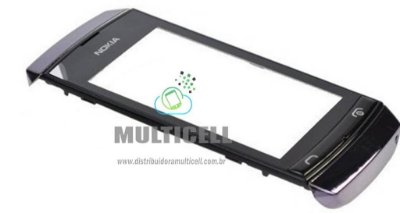 TELA TOUCH SCREEN NOKIA ASHA 305 COM ARO LATERAL PRETO ORIGINAL