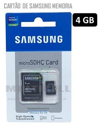 CARTAO DE MEMORIA COM ADAPTADOR SAMSUNG 4GB