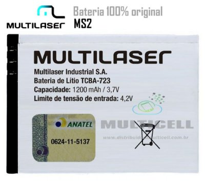 BATERIA  MULTILASER P3286/MS2 TCBA-723 1200mhA  3,7V ORIGINAL