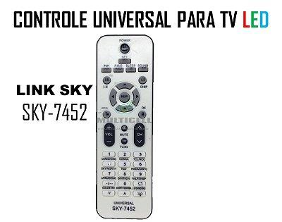 CONTROLE UNIVERSAL PARA TV DE LED SKY-7452  LINE PRATA