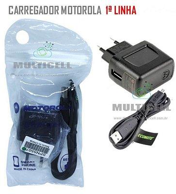CARREGADOR MOTOROLA MICRO USB V8 MODELO ORIGINAL 1ªLINHA