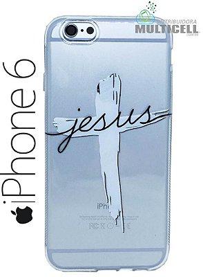 CAPA SILICONE PERSONALIZADA TRANSPARENTE IPHONE 6 6S TEMA JESUS