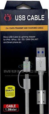 CABO DADOS 2 EM 1 MICRO USB V8/IPHONE 5/5S/6/6S/IPAD MINI