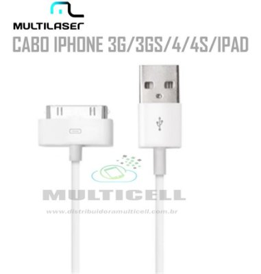 CABO USB MULTILASER IPHONE 3G/3GS/4/4/IPAD BRANCO C/ BLISTER
