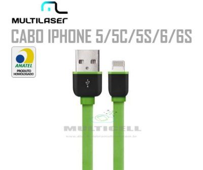 CABO FITA USB MULTILASER  IPHONE 5/5C/5S/6/6S VERDE HOMOLOGADO ANATEL