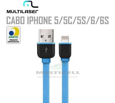 CABO FITA USB MULTILASER  IPHONE 5/5C/5S/6/6S AZUL HOMOLOGADO ANATEL