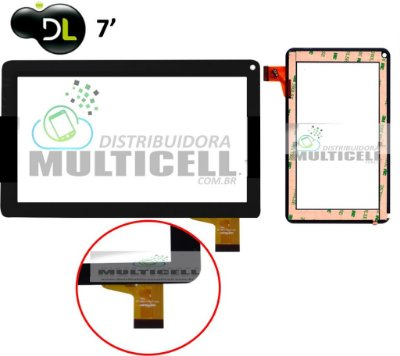 TELA TOUCH SCREEN VIDRO TABLET DL T71 DL 1603 DL M7-S M7S M7i TP252 DAZZ MX7 7'' PRETO ORIGINAL