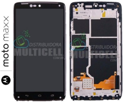 GABINETE FRONTAL DISPLAY LCD TELA TOUCH SCREEN MOTOROLA XT1225 MOTO MAXX PRETO ORIGINAL