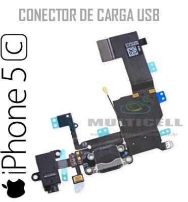 FLEX DOCK CONECTOR DE CARGA USB IPHONE 5C PRETO ORIGINAL