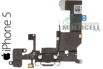 FLEX DOCK CONECTOR DE CARGA APPLE A1428 A1429 IPHONE 5 PRETO 1ªLINHA AAA