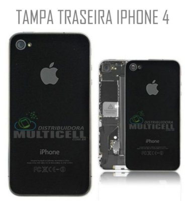 TAMPA TRASEIRA IPHONE 4 PRETA