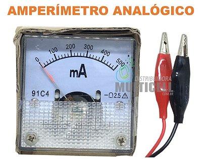 AMPERÍMETRO MEDIDOR DE VOLTAGEM ANALÓGICO 91C4 500MA COM BICO DE JACARÉ
